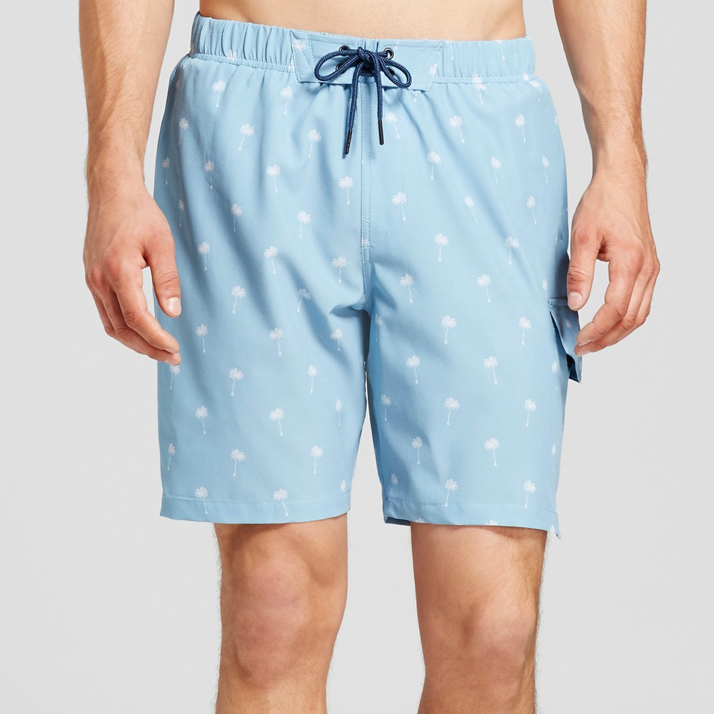 Mens Palm Trees Cargo Swim Trunks - No Retreat Blue L, Blue White