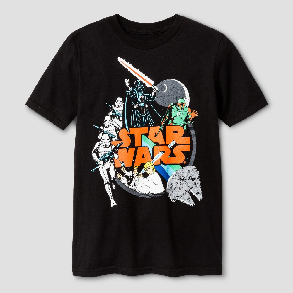 Boys Star Wars Galactic Foes Short Sleeve T-Shirt - Black M