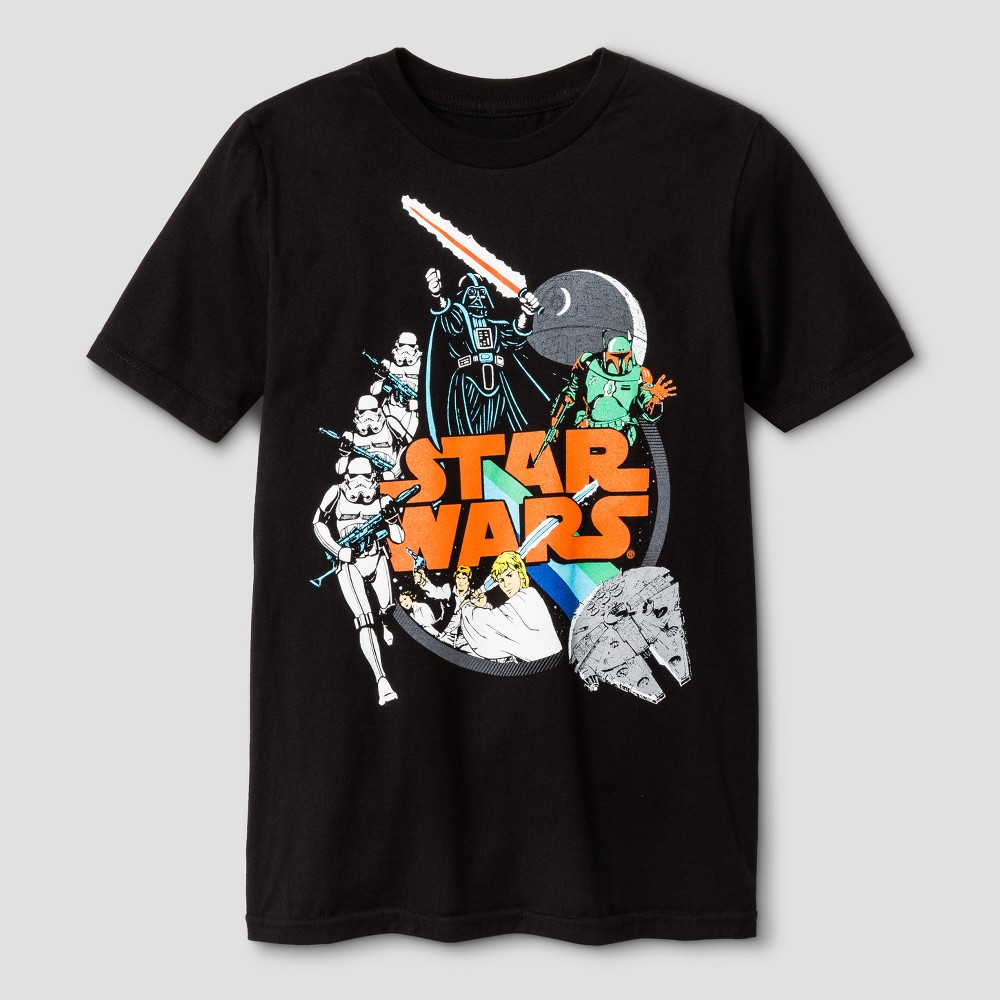 Boys Star Wars Galactic Foes Short Sleeve T-Shirt - Black XL