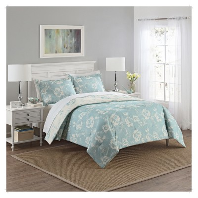 Blue Floral Bonita Reversible Comforter Set (Queen)3pc - Marble Hill®
