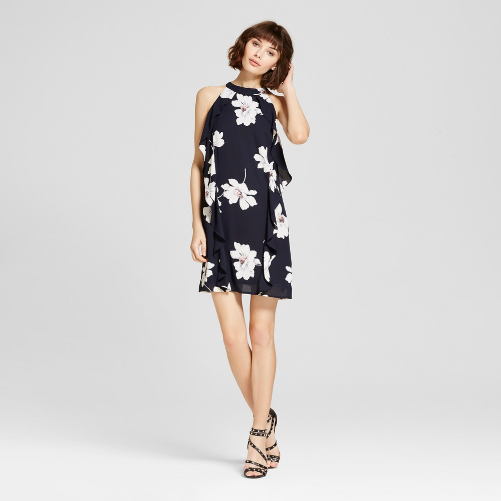 Womens Sleeveless Floral Ruffle Side Dress Navy M - Éclair, Blue
