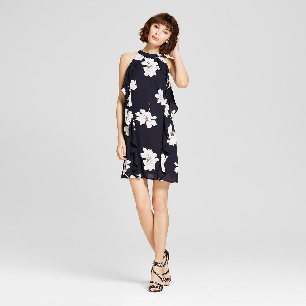 Womens Sleeveless Floral Ruffle Side Dress Navy XL - Éclair, Blue