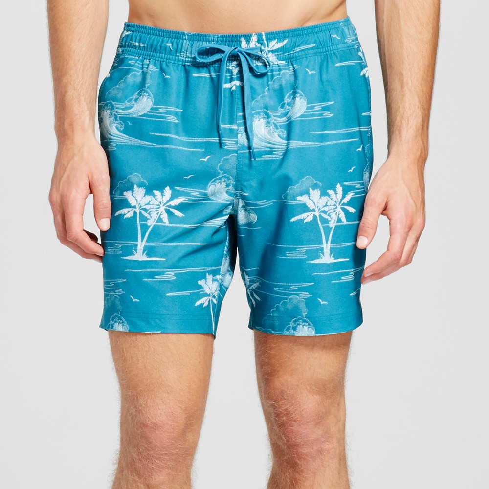 Mens Waves Swim Trunks - Trinity Collective Teal Xxl, Blue
