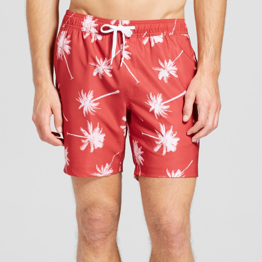 Mens Palm Trees Swim Trunks - Trinity Collective Red L