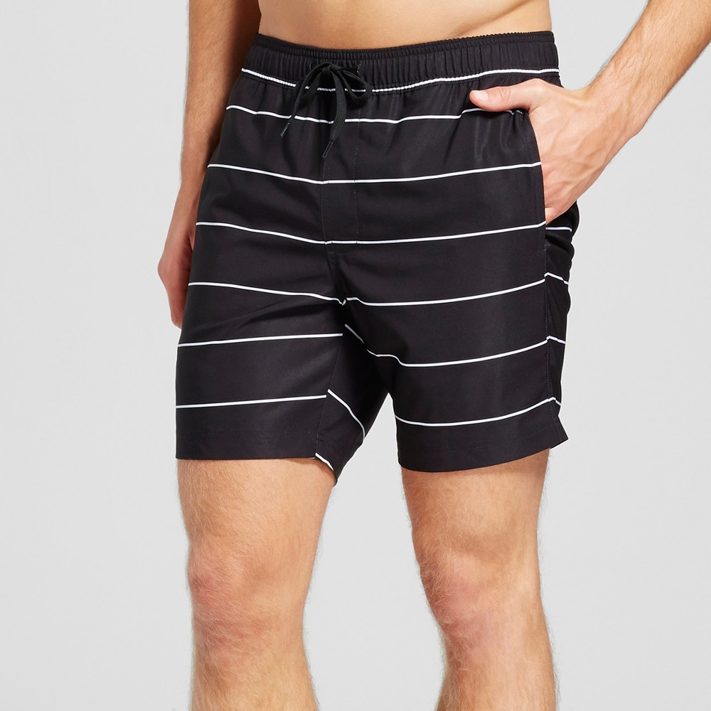 Mens Stripe Swim Trunks - Trinity Collective Black M