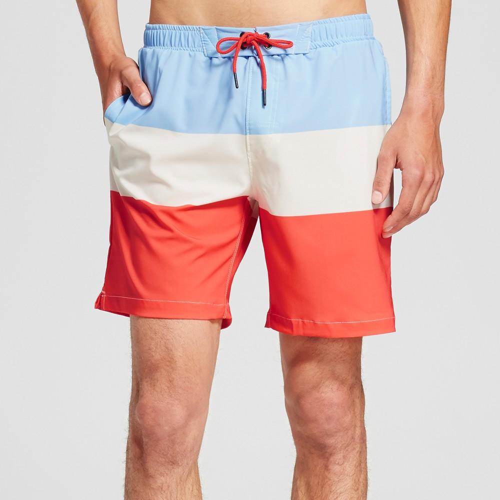 Mens Americana Colorblock Swim Trunks - No Retreat Multi S, Blue Red White