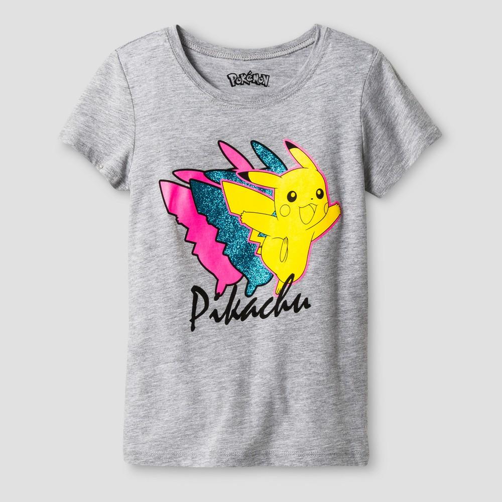 Girls Pokémon Pikachu Short Sleeve T-Shirt - Athletic Heather XS(4-5), Gray