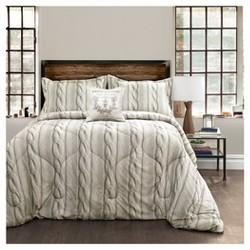 Gray Printed Cable Knit Comforter Set 4pc - Lush Decor®