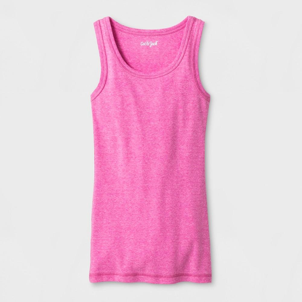 Girls Sleeveless Favorite Tank Top - Cat & Jack Pink M, Pizzazz Pink