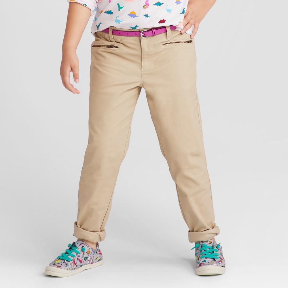 Girls Skinny Twill Fashion Pants - Cat & Jack Pita Bread 4, Brown