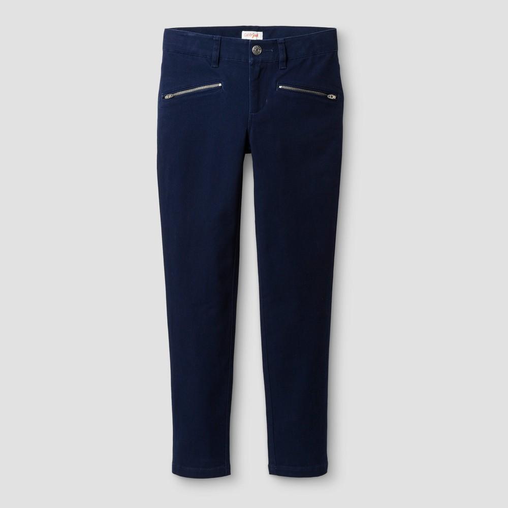 Girls Skinny Twill Fashion Pants - Cat & Jack Navy 14, Blue