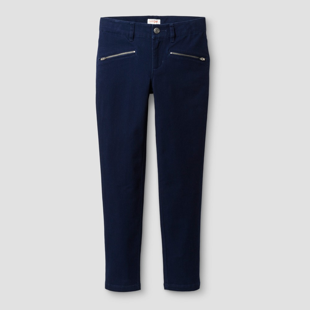 Girls Skinny Twill Fashion Pants - Cat & Jack Navy 6XS, Size: 6X Slim, Blue