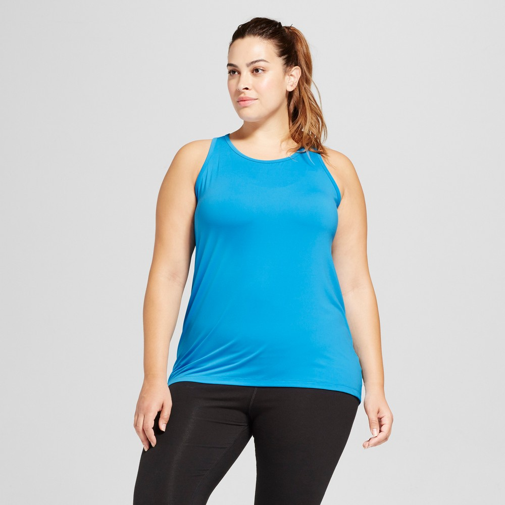 Womens Plus-Size Performance High-Neck Long Tank Top - C9 Champion - Hydro Blue 2X