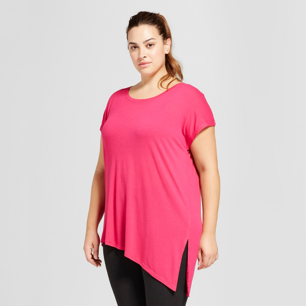 Womens Plus-Size Active Side-Tie T-Shirt - C9 Champion - Deep Raspberry 1X