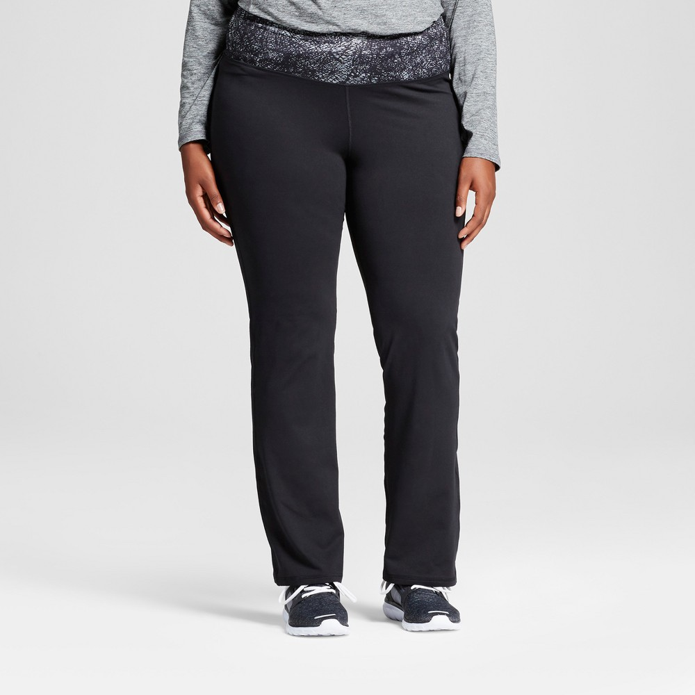 Womens Plus-Size Freedom Straight Pants - C9 Champion - Black/Silver Printed Waistband 4X