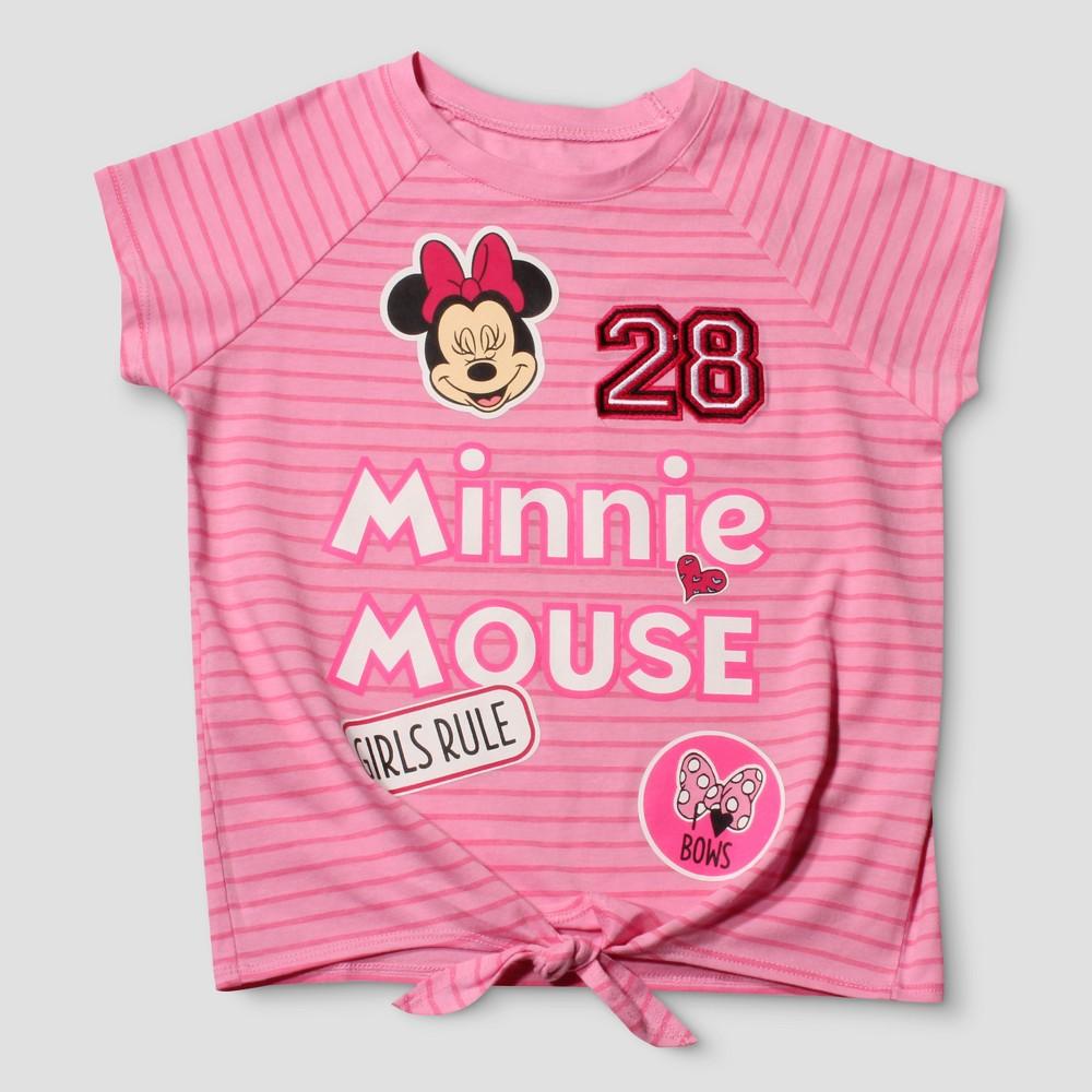 Girls Disney Minnie Tie Front Short Sleeve T-Shirt - Pink L(10-12)