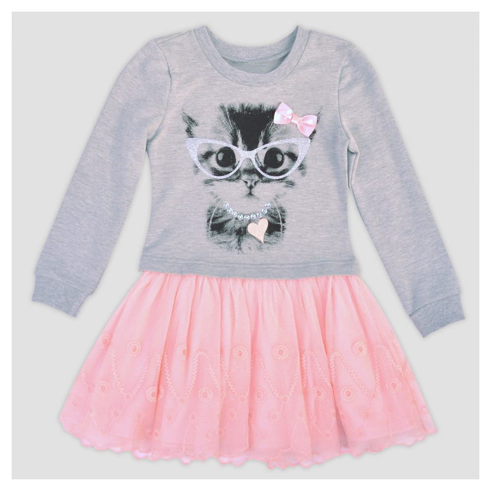 Toddler Girls A Line Dresses Young Hearts - Gray 2T