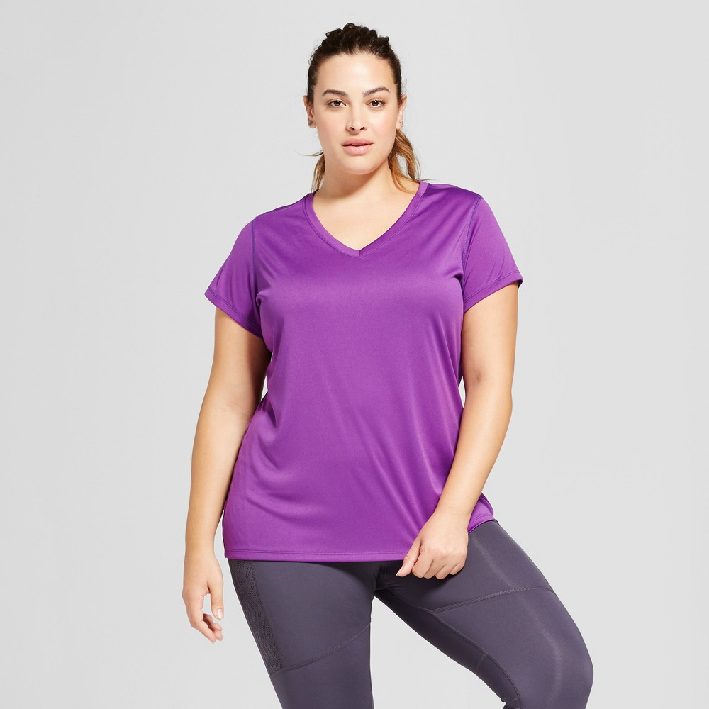 Womens Plus-Size V-Neck Tech T-Shirt - C9 Champion - Grape Splash 1X