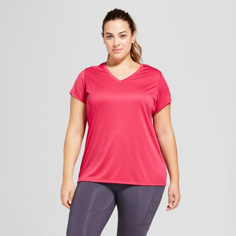 Womens Plus-Size V-Neck Tech T-Shirt - C9 Champion - Deep Raspberry 1X