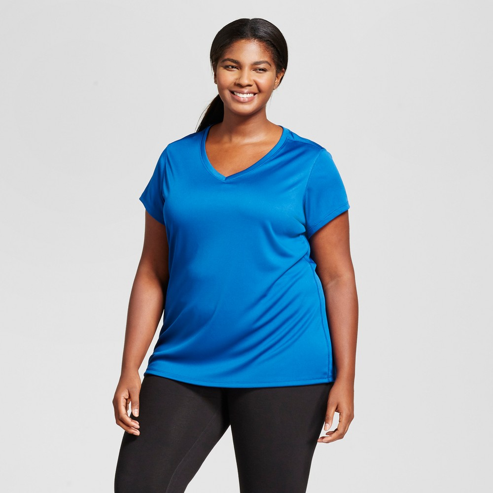 Womens Plus-Size V-Neck Tech T-Shirt - C9 Champion - Teal (Blue) 3X