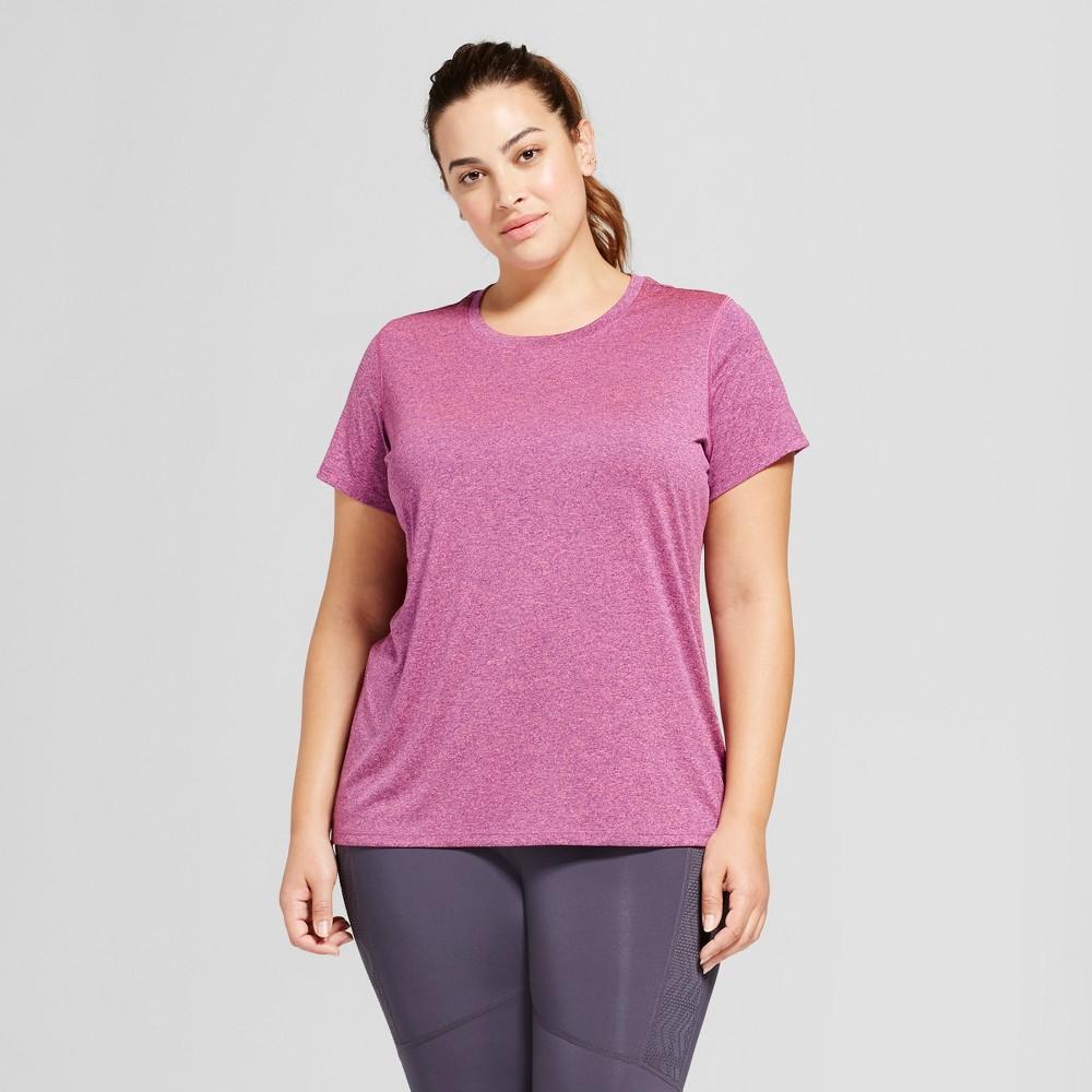 Womens Plus-Size Crew Neck Tech T-Shirt - C9 Champion - Grape Splash/Neon Flare Coral Heather 1X