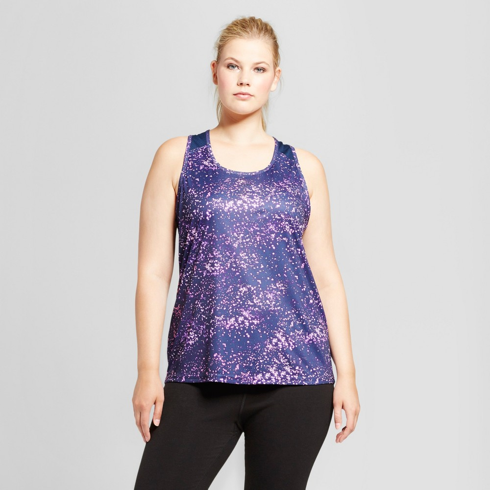 Womens Plus-Size Run Singlet - C9 Champion - Purple/Starry Dot Print 1X