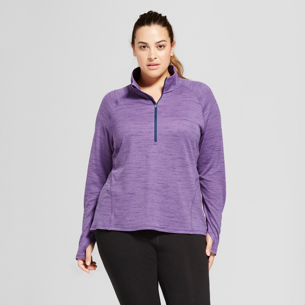 Womens Plus-Size Run 1/2 Zip Pullover - C9 Champion - Lilac Heather 4X