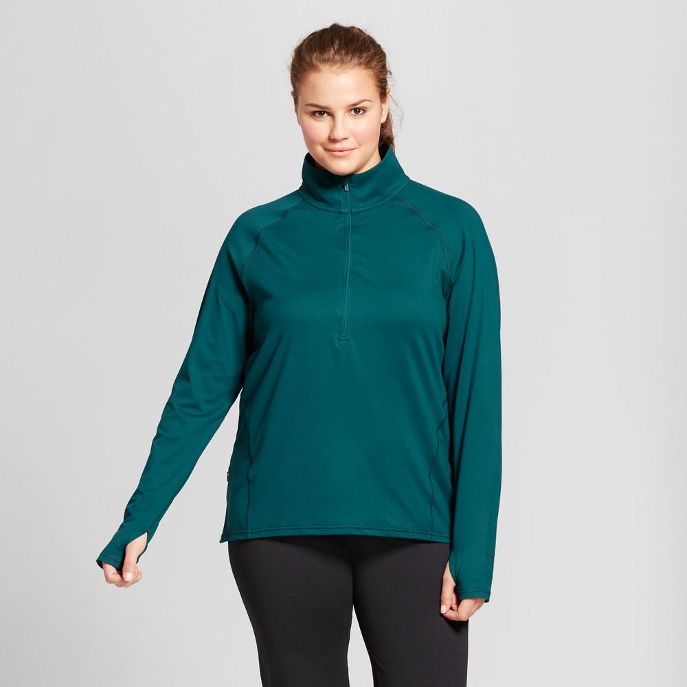 Womens Plus-Size Run 1/2 Zip Pullover - C9 Champion - Jade (Green) 4X