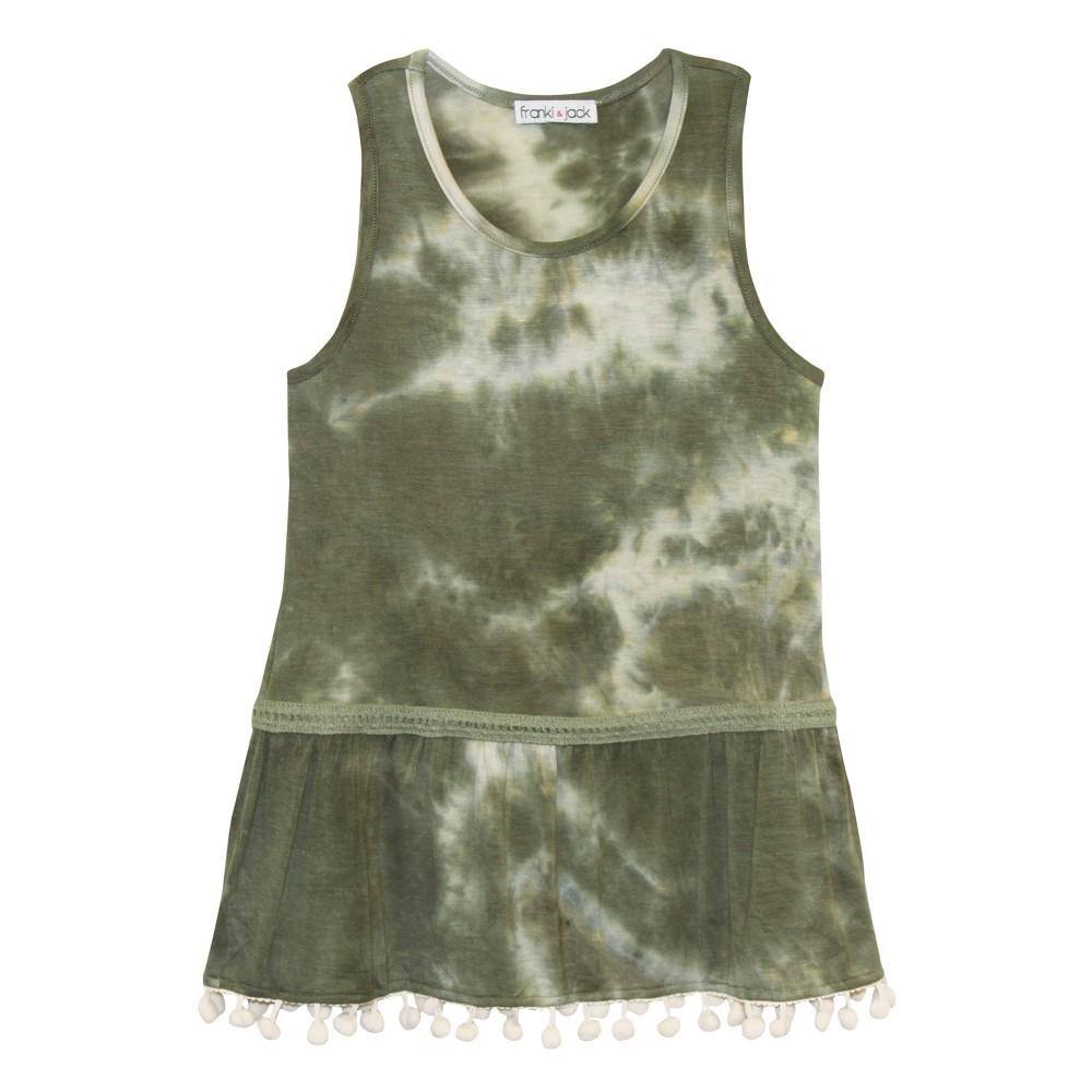 Girls' Franki & Jack Tie Dye Peplum Tank Top - Olive L(10-12), Green