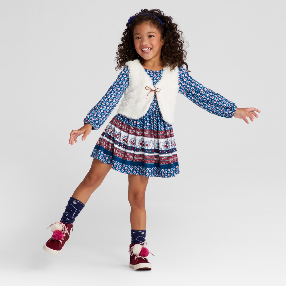 Toddler Girls A Line Dresses Young Hearts - Navy 2T, Blue