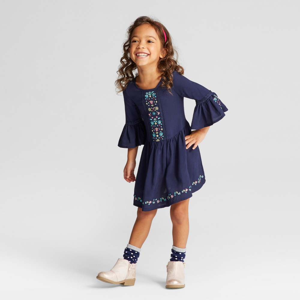 Toddler Girls A Line Dresses Young Hearts - Navy 4T, Blue