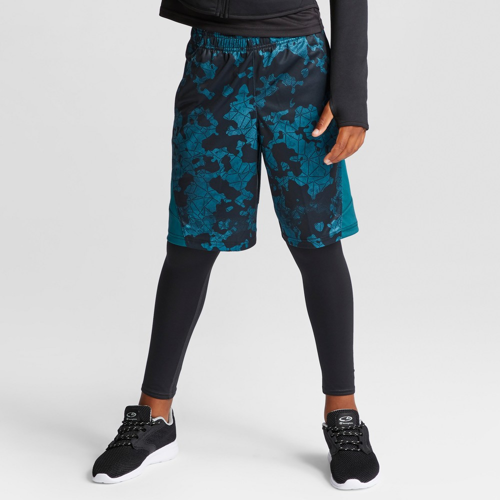 Boys Printed Training Shorts - C9 Champion Jeweled Jade Camo XL