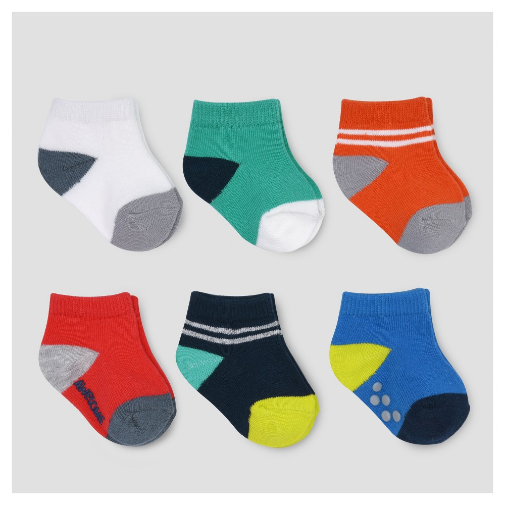 Baby Boys 6pk Ankle Toe Pop Socks - Just One You Made by Carters Multicolor 3-12M, Size: 3-12 M, Multicolored