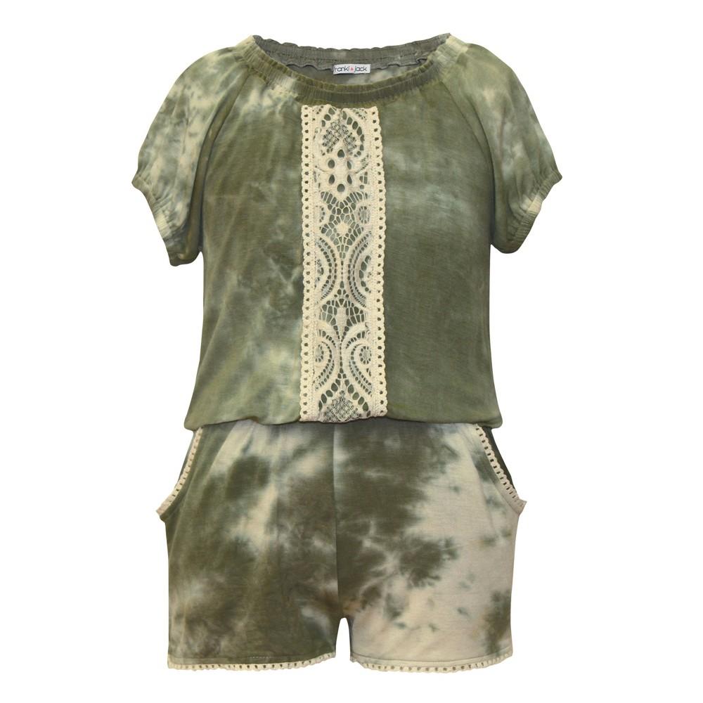 Girls Franki & Jack Tie Dye Romper - Olive S, Size: S (6-6X), Green