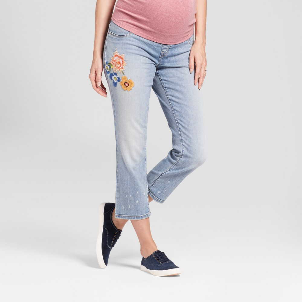 Maternity Underbelly Panel Embroidered Straight Leg Jeans - Isabel Maternity by Ingrid & Isabel Light Wash 8, Womens, Blue