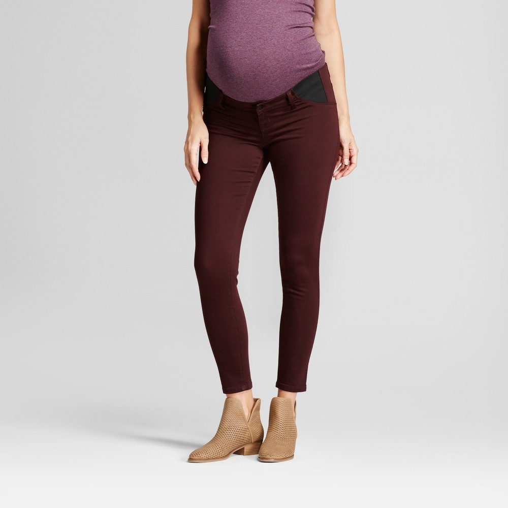 Maternity Inset Panel Skinny Jeans - Isabel Maternity by Ingrid & Isabel Black Raspberry 14, Womens, Red