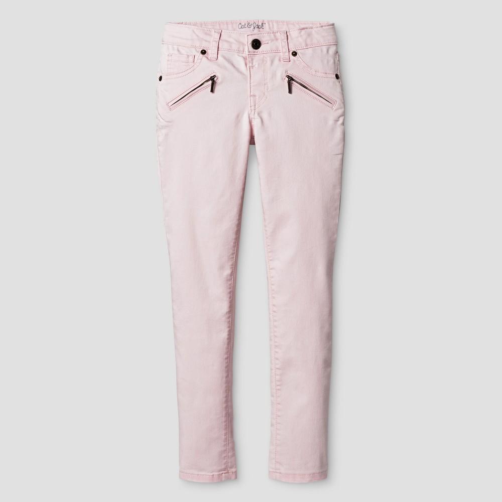 Girls Jeans - Cat & Jack Cherry Cream 10 Slim, Pink