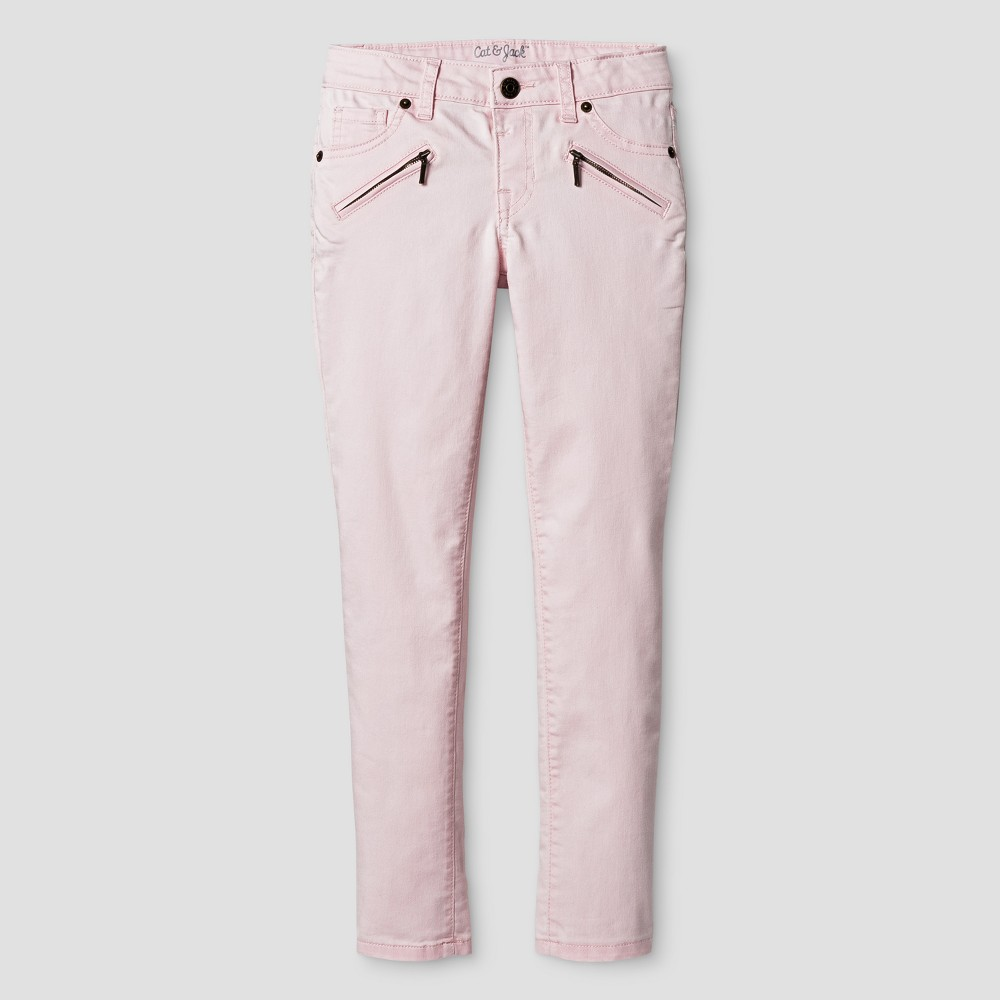 Girls Jeans - Cat & Jack Cherry Cream 12 Slim, Pink