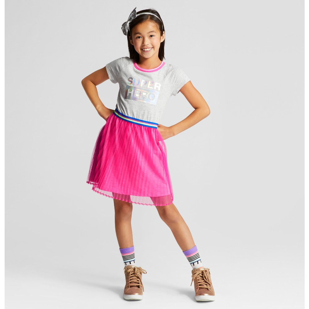 Girls Short Sleeve Dress - Cat & Jack Heather Gray M