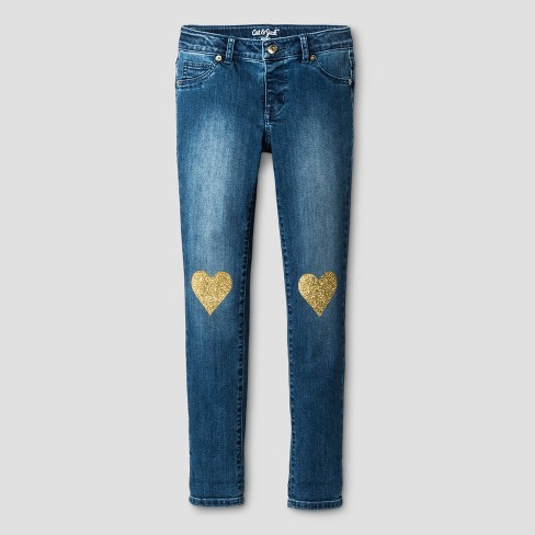 Girls' Jeans Jeggings with Heart Knee Patches - Cat & Jack™ Medium Blue - image 1 of 3
