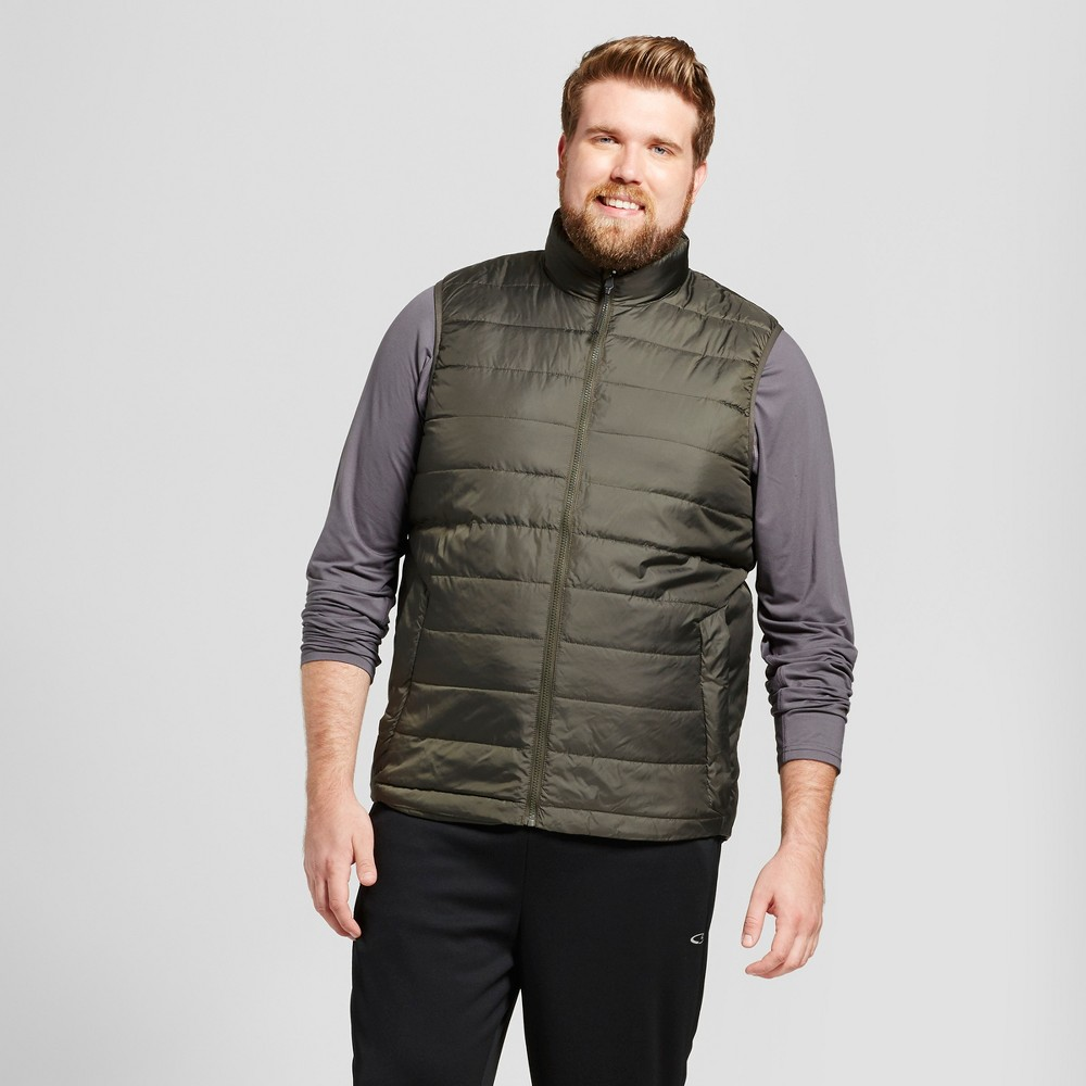Mens Tall Lightweight Puffer Vest - C9 Champion Viridian Olive Green Xlt