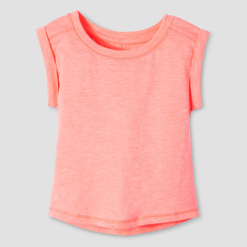 Toddler Girls Basic Sleeve T-Shirt - Cat & Jack Peach 4T, Orange