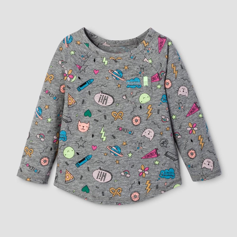 Toddler Girls Long Sleeve T-Shirt - Cat & Jack Gray 2T