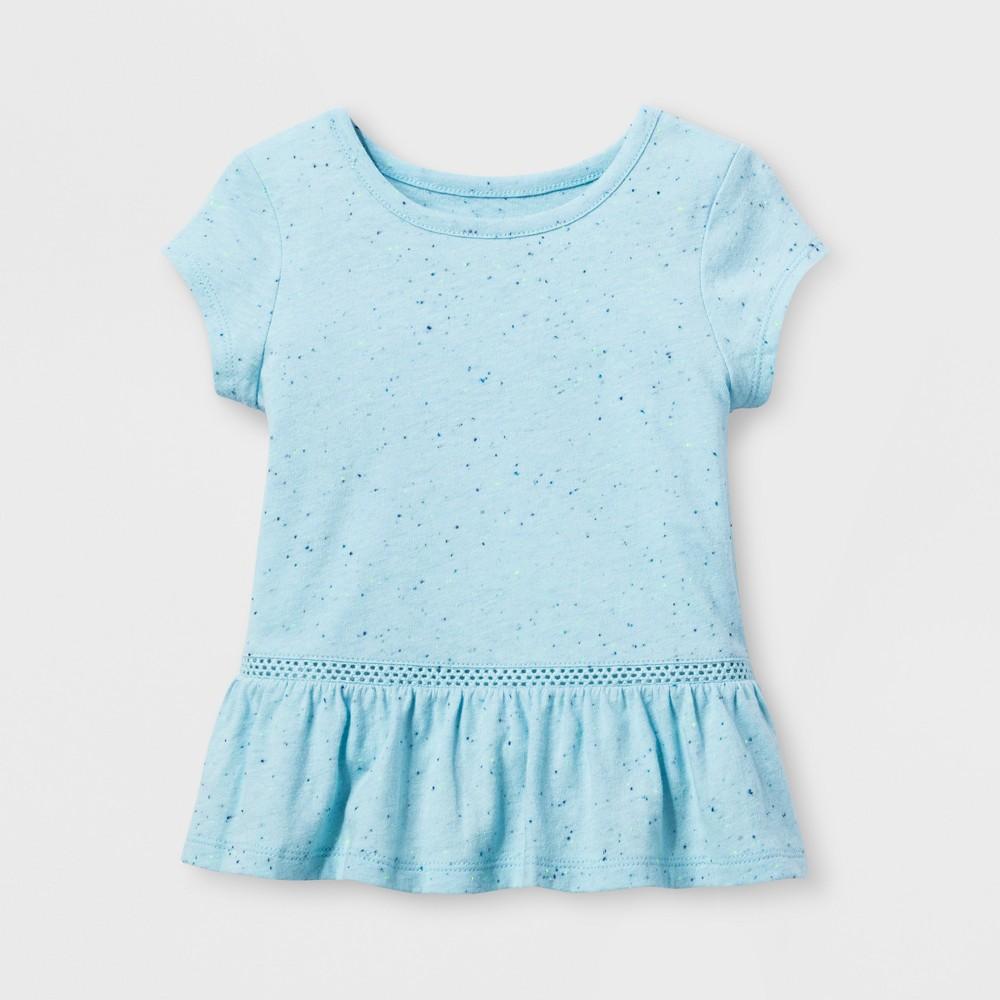 Toddler Girls Mini Cap Sleeve T-Shirt - Cat & Jack Turquoise Glass 3T, Blue