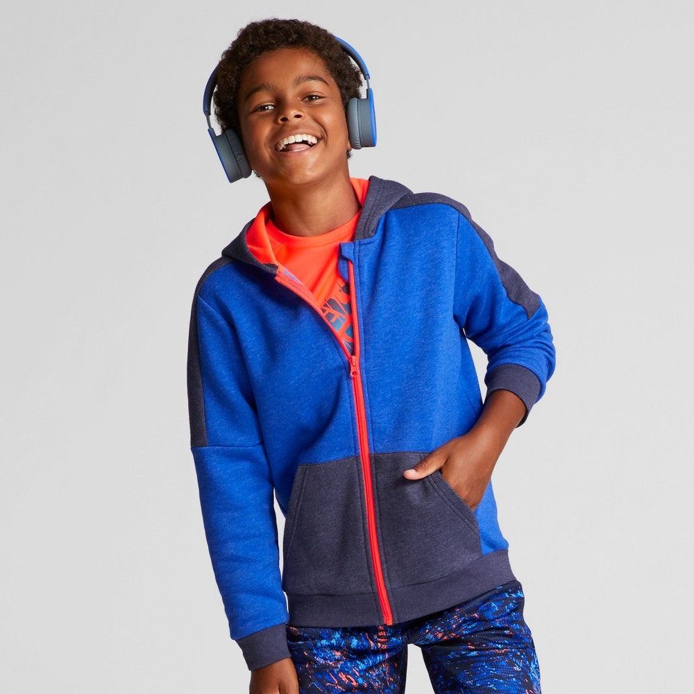 Boys Cotton Fleece Full Zip Hoodie - C9 Champion Flight Blue Heather S