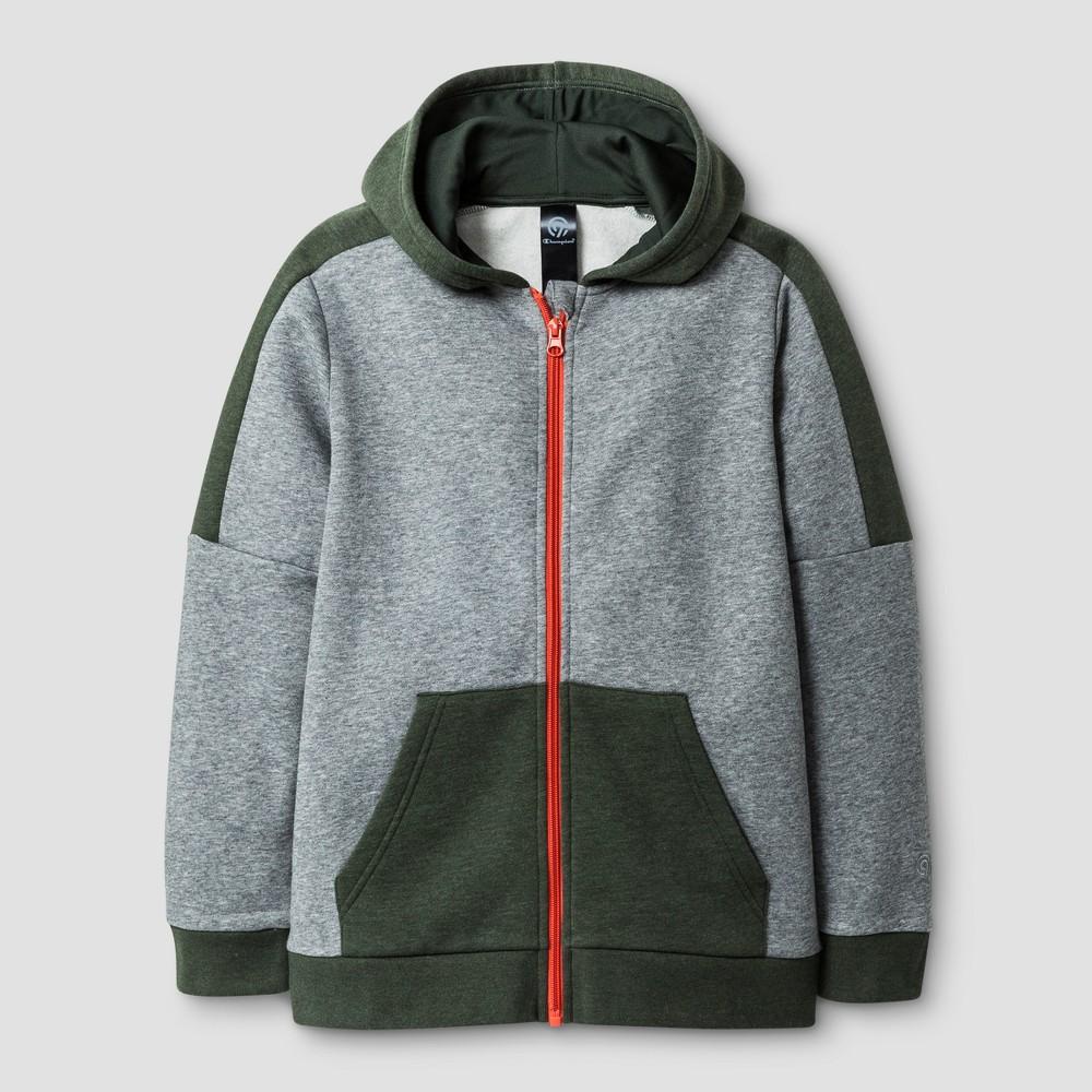 Boys Cotton Fleece Full Zip Hoodie Varsity - C9 Champion Gray Heather (Grey) XL