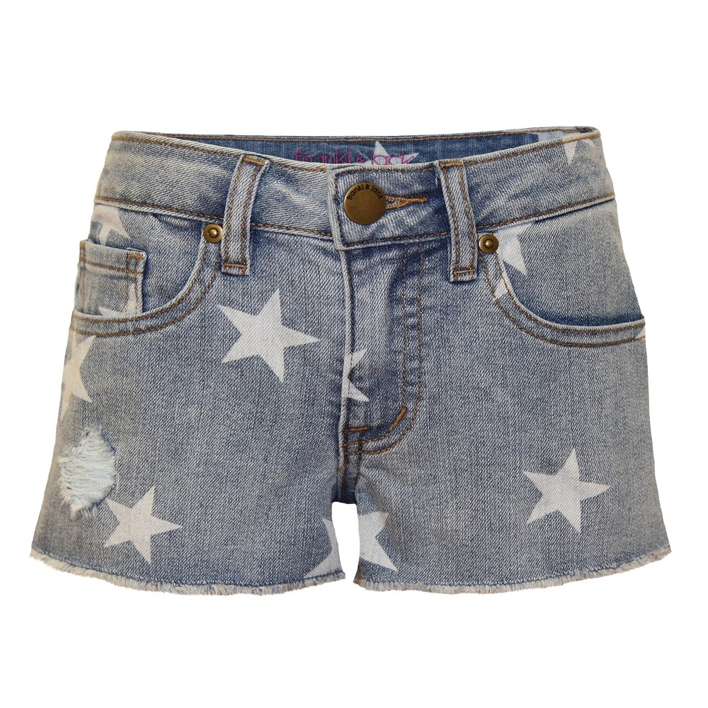 Girls Franki & Jack Stars Jean Shorts - Light Acid Wash M (7-8), Blue
