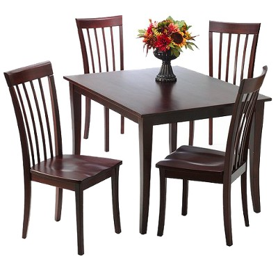 5 Piece Dolce Solid Wood Dining Set - Brown