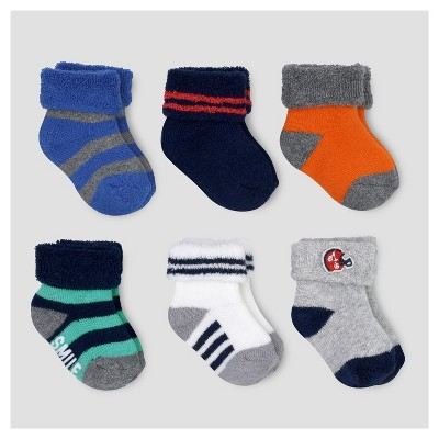 Baby Boys' 6pk TryRoll Cuff Socks - Just One You™ Made by Carter's® Multicolor 0-3M
