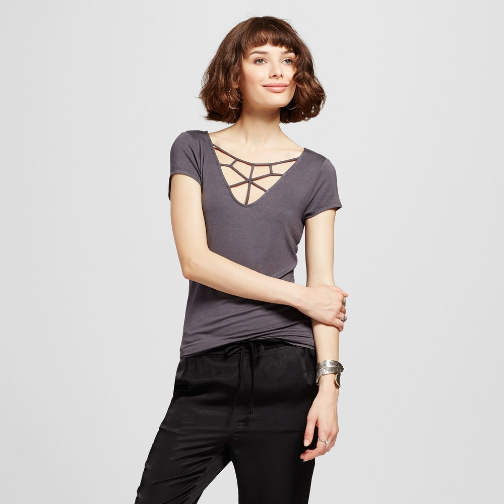 Womens Caged Front Lace Back Short Sleeve Top - Almost Famous (Juniors) Gray L